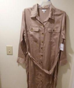 XXL Khaki Button Down Utility Shirt Dress